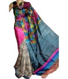 Multicolor Handloom Block Printed Murshidabad Silk Saree