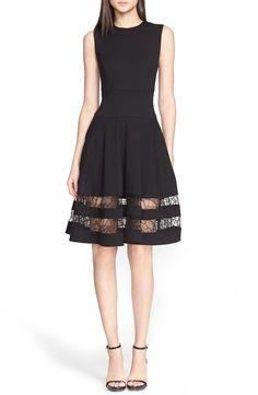 Jason Wu Lace Trim Fit & Flare Dress