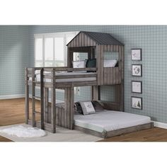 Twin over Full Campsite Loft Bed in Rustic Dark Grey (Assembly Required - Bunk Bed - Painted), Kids Unisex, Gray, Donco Kids Safe Bunk Beds, Bunk Beds Boys, Metal Bunk Beds, Low Loft Beds, Bunk Beds With Stairs, Full Bunk Beds, Trundle Bed With Storage, Kids Toddler Bed, Big Kids