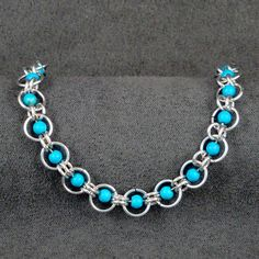 Turquoise Beaded Chainmaille Bracelet CM020 by JudysWorkshopdotcom