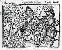'Beggars All': Beggars Bush, a Wandering Beggar and a Gallant Beggar, titlepage of 'The Praise, Antiquity and Commodity of Beggary, Beggars and Begging' (woodcut)  Published 1621