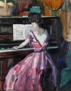 "huariqueje: ""Woman at the Piano - Jane Peterson American, Oil on canvas. 23 ¼ x 19 ¼ in. Piano Y Violin, Piano Art, Hirshhorn Museum, Grant Wood, Digital Museum, Music Pictures, Portraits, Gravure, Famous Artists"