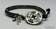 Black leather and bead bracelet with steampunk button £10.00