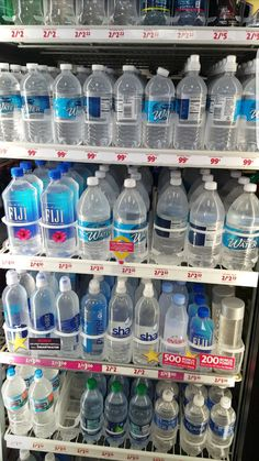 """There is nothing more """"first world"""" than this decision right here - TheLOLempire Bebida Boba, Agua Mineral, Fridge Organization, Water Bottle Design, Fiji Water, Pantry Design, Beverages, Drinks, Junk Food"""
