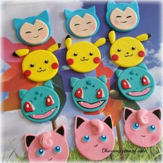 The listing is for 12 Pokémon cupcake toppers. You can customize the characters… Pokemon Cake Pops, Pokemon Cupcakes Toppers, Superhero Cupcake Toppers, Pikachu Cake, Fondant Cupcake Toppers, Cupcake Cakes, Pokemon Cakes, Cupcake Safari, Deco Cupcake