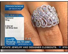 This ring is swirls of diamonds in a graceful and brilliant pattern - this is a statement ring with a lot of bling.