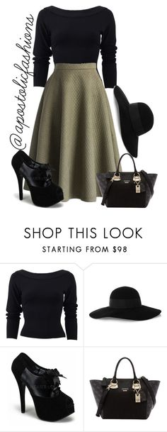 """""""Apostolic Fashions #1305"""" by apostolicfashions ❤ liked on Polyvore featuring Donna Karan, Eugenia Kim and GUESS"""