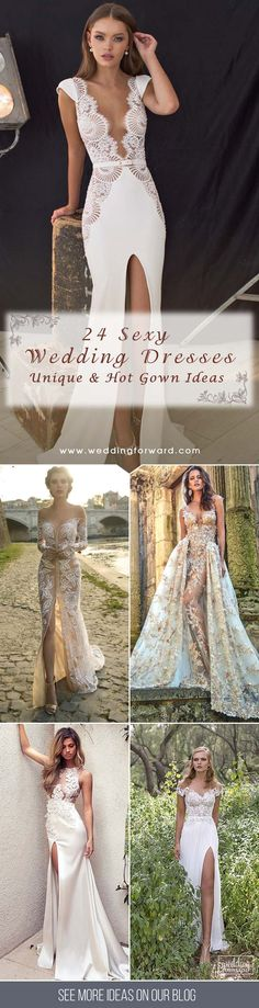 24 Unique & Hot Sexy Wedding Dresses ❤ e collected for you some sexy wedding dresses which are elegant alternatives. The trick is to focus attention on one area. It may be low back, plunging neckline, over semi-opaque material, illusion panels or gown with a slit. See more: http://www.weddingforward.com/sexy-wedding-dresses-ideas/ #wedding #dresses #sexy