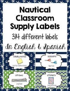 Classroom Supply Labels English and Spanish-... by Creative Kinderoos   Teachers Pay Teachers