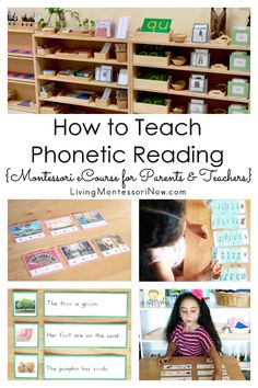 Learn about the phonetic reading Montessori eCourse with the pink, blue, and green series. Perfect for parents and teachers of year olds! - Living Montessori Now Phonics For Kids, Teaching Phonics, Montessori Activities, Teaching Reading, Teaching Kids, Montessori Kindergarten, Montessori Homeschool, Homeschool Curriculum, Montessori Elementary
