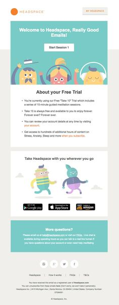 Headspace sent this email with the subject line: Welcome to Headspace Read abo – Email Marketing – Start your email marketing Now. – Headspace sent this email with the subject line: Welcome to Headspace Read about this email and find more welcome emails Email Template Design, Email Newsletter Design, Email Templates, Email Newsletters, Email Marketing Design, Marketing Software, Email Marketing Campaign, Marketing Ideas, Web Design