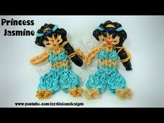 Rainbow Loom Princess JASMINE Figure. Designed and loomed by Kate Schultz of Izzalicious Designs. Click photo for YouTube tutorial. 04/17/14.