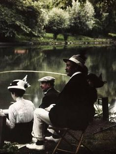 Photographic Print: Group of Friends Fishing at Montigny Poster by Henrie Chouanard : 24x18in