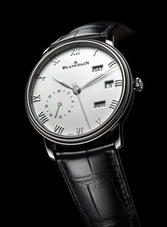 The new, stainless steel version of the Blancpain Villeret Quantieme Annuel GMT combines an annual calendar function with a dual-time display.  The case is 40 mm in diameter and 11 mm thick; it holds Blancpain's manufacture Caliber 6054F and comes an alligator leather strap lined with Alzavel calfskin.  More @ http://www.watchtime.com/wristwatch-industry-news/watches/showing-at-watchtime-new-york-2016-blancpain-villeret-annual-calendar-gmt/ #blancpain #watchtime #menswatches #luxurywatch