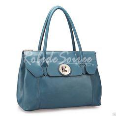 Sac à Main Femme-Bleu-vert sac à bandoulière en cuir boucle