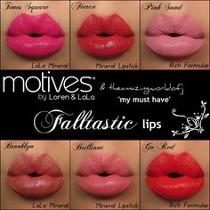 Buy your color here:  #MotivesforLaLa Mineral Lipstick in Times Square  #Motives Mineral Lipstick in Fierce  Motives Rich Formula Lipstick in Pink Sand   Motives for La La Mineral Lipstick in Brooklyn   Motives Mineral Lipstick in Brilliant   Motives Rich Formula Lipstick in Go Red