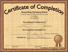 Award Certificate Template Microsoft Word | ... download button to get this free certificate of completion template