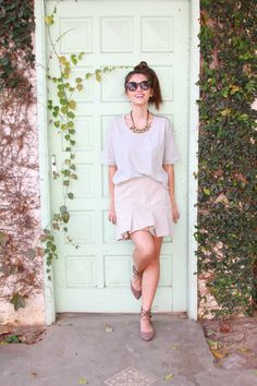 mint door with a fashion girl