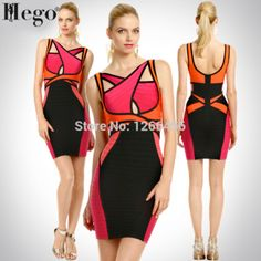 HEGO 2015 Sexy Keyhole Backless Bandage Dress Maria Fowler Criss -Cross Multicolor Patchwork Short Celebrity Dresses H246