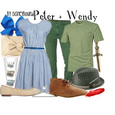 Peter + Wendy, created by lalakay on Polyvore: if I didn't already have a Wendy costume, I'd make my bf dress like this.