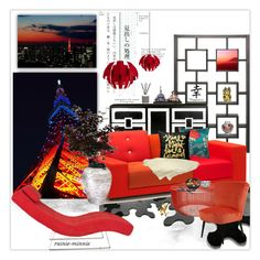 """""""Tokyo Tower"""" by rainie-minnie ❤ liked on Polyvore featuring interior, interiors, interior design, home, home decor, interior decorating, Vitra, Sasson Home, Lightecture and Loloi Rugs"""