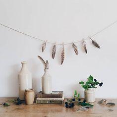 feather garland, clothespins