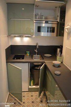 47 + One Simple Trick For Studio Apartment Ideas Tiny Kitchen Revealed 137 - fre. 47 + One Simple Studio Apartment Kitchen, Studio Kitchen, Home Decor Kitchen, Interior Design Kitchen, Kitchen Furniture, Home Kitchens, Micro Kitchen, Compact Kitchen, Kitchen Remodel