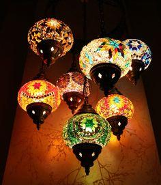 Turkish Moroccan Style Mosaic Lamp 7 Balls Globe Hanging Chandeliers Handmade 12 #Handmade #Country