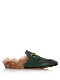 Princetown fur-lined backless leather loafers | Gucci | MATCHESFASHION.COM US