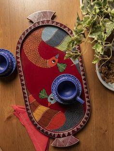 Gond Art from Madhya Pradesh by The India Craft House Mural Wall Art, Diy Wall Art, Hanging Wall Art, India Crafts, Home Crafts, Wood Painting Art, Wood Art, Pichwai Paintings, Indian Paintings