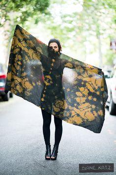 Silk Sheer Tie Dye Gold Moss Black Galactic Scarf Wrap by DianeKatzDesign