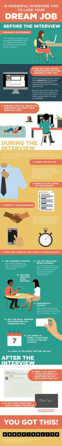 infographic 16 Powerful Interview Tips to Land Your Dream Job Ryan Robinson at CreativeLive. Image Description 16 Powerful Interview Tips to Land Your Best Interview Tips, Interview Skills, Job Interview Questions, Job Interview Tips, Job Interviews, Behavioral Interview, Interview Coaching, Job Career, Career Planning