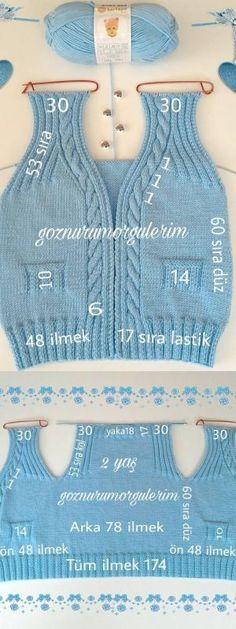 anlatimli-orgu-bebek-yelek-modelleri anlatimli-orgu-bebek-y. Baby Knitting Patterns, Baby Boy Knitting, Knitting Designs, Free Knitting, Crochet For Kids, Knit Crochet, Baby Model, Knitted Baby Clothes, Baby Cardigan