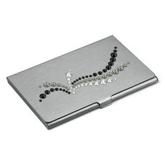 "Card holder Hand Made decorated with SWAROVSKI® ELEMENTS ""Wave Jet"" Grey"