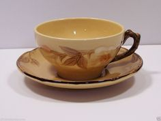Cafe Royal Franciscan Coffee Flat Cup Saucer Earthenware Raised Flowers  #Franciscan