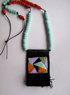 Geometric textile necklace with pendant in mint green purple orange on black leather cord late Summer and Fall fashion jewelry 2013