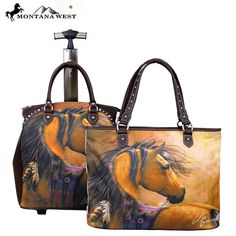 Montana West 2 PC Luggage Set Horse Art -Laurie