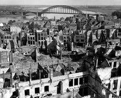WWII Bombed-out Nijmegen and the Waal Bridge - Holland