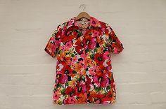 Neon Festival Hippy Hawaiian floral flower print shirt vintage blouse pattern