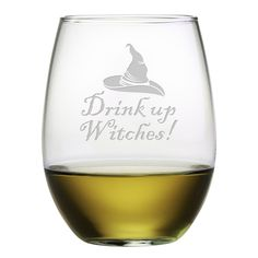 Elevate your witch's brew with these Drink Up Witches Stemless Wine Glasses.