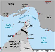 El estrecho de Hormuz. Nótese que incluso si Irán cerrase el estrecho, Emiratos Árabes seguiría proporcionando un puente terrestre entre el Golfo Pérsico y el Índico (Golfo de Omán), a menos que Irán bloquease también la costa Este de dicho país.