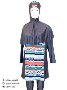 Kode: BRMD201545, Harga: IDR 295.000. Baju renang muslimah dewasa dengan desain longgar berwarna dasar cokelat tua kombinasi motif tribal abstrak. Model baju dan celana renang terusan, dilengkapi jilbab panjang menutupi dada dan topi. Elegan dan syar'i. Resleting diletakkan di depan baju untuk memudahkan pemakaian.