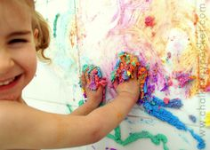 How To Make Bathtub Puffy Paint & many more children's art techniques & projects.  - Chalk in My Pocket blog