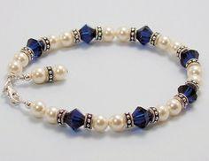 Alisun's Desire - Swarovski Cream Pearl and Indigo Blue Crystal Bracelet, $34.95
