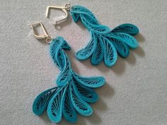 Blue color paper quilling peacock earring designs 2015 - quillingpaperdesigns