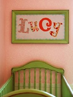 This DIY name art was made with a framed print -- flipped backwards! Fabric letters were ironed on afterwards Fabric Letters, Framed Fabric, Wooden Letters, Paper Letters, Baby Name Art, Baby Names, Childrens Room, Diy Nursery Decor, Nursery Ideas