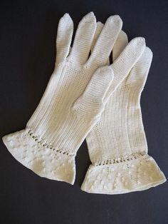 Vintage original Hand Knitted 1930-40's beige tone sz s/m tight work thin Thread