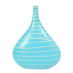 $38 - Blue Ceramic Bulb Style Flower Vase Dramatic Line Accents (Thailand) - This beautiful piece features rounded sides rising to form a long, tapered neck with a narrow, flared mouth. This vase has been hand-painted and encircled by gentle lines that flow around contours.  http://www.overstock.com/Worldstock-Fair-Trade/Blue-Ceramic-Bulb-Style-Flower-Vase-Dramatic-Line-Accents-Thailand/6719579/product.html?CID=214117 $38.99