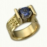 Yellow Gold Celtic Meghan Style Engagement Ring - Triangle Knot Pattern on Shank- set with a Cushion Cut Blue Sapphire Celtic Engagement Rings, Fine Jewelry, Jewellery, Diamond Gemstone, Celtic Knot, Cushion Cut, Shank, Blue Sapphire, Heart Ring