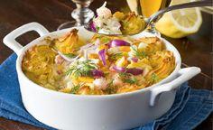 En underbart god och krämig fiskgratäng som kan ätas både till vardag och fest!